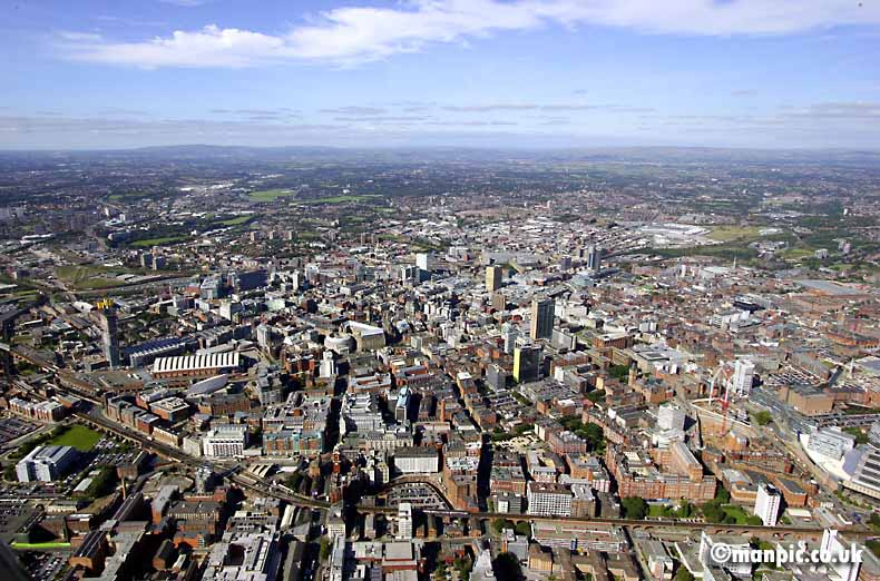aerial photo of           manchester