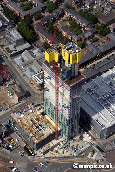 aerial photo of the           beetham tower manchester uk
