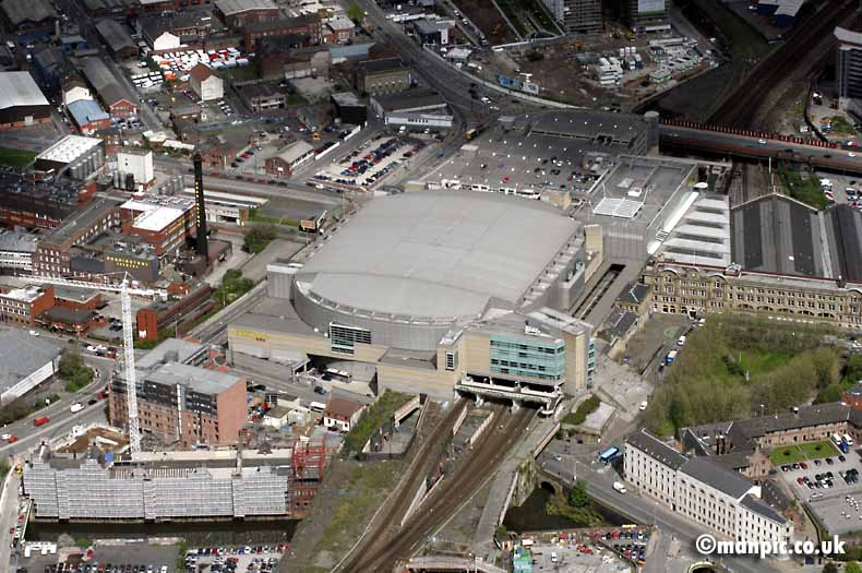 aerial photo of men arena           manchester