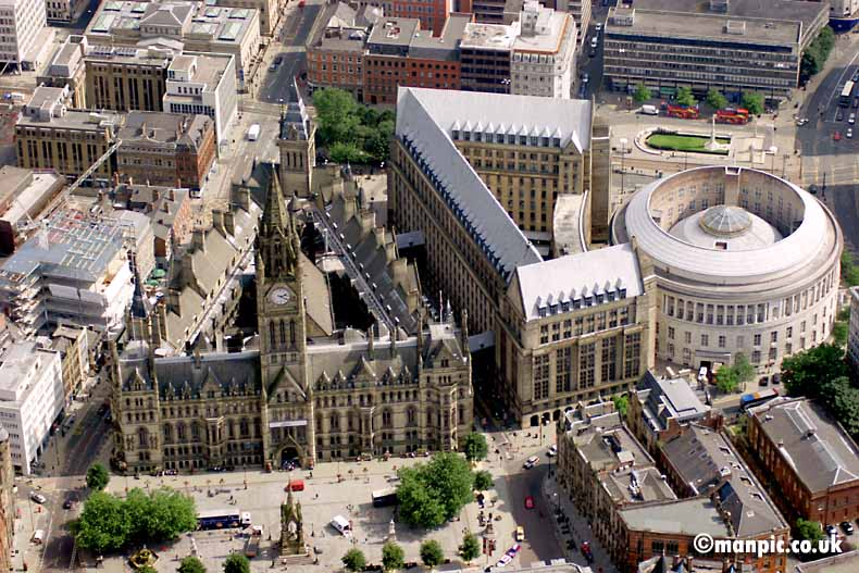 aerial photograph             of manchester town hall